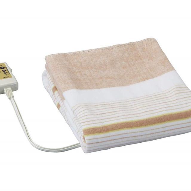 電気敷毛布(130×80cm) オレンジ/ストライプ  インテリア/住まい/日用品のラグ/カーペット/マット(ホットカーペット)の商品写真