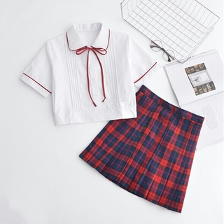 T44白シャツ 学院 チェック お嬢様 2点セット 赤(コスプレ)
