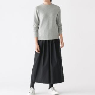 ◎新品◎無印良品首コットンシルククルーネックセーター/ライトグレー/S