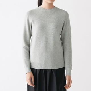 【新品】無印良品首コットンシルククルーネックセーター/ライトグレー/L
