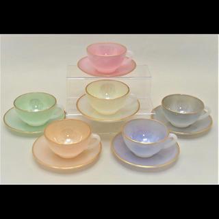 WEDGWOOD - ♡レア♡フランス ARCOPAL製 ガラス カップ&ソーサー 6客 未使用品