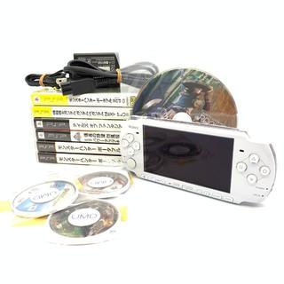 ソニー(SONY)のPSP PSP3000 本体 充電器 カセット 9点 セット ホワイト 動確済(携帯用ゲーム本体)