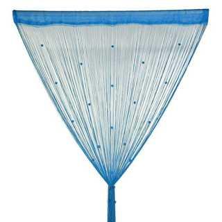 ひものれん カーテン 目隠し ストーン付き 間仕切り 100×200 ブルー(のれん)