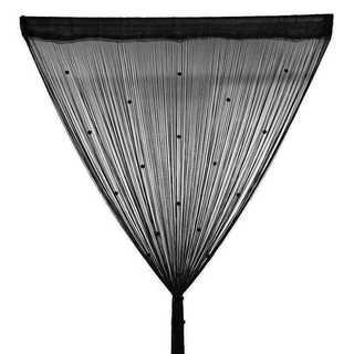 ひものれん カーテン 目隠し ストーン付き 間仕切り 100×200 ブラック(のれん)