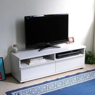 高品質◎テレビ台 120cm ロータイプ 50インチ 大型テレビ対応 ホワイト(リビング収納)