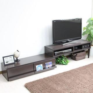 高品質◎テレビ台 伸縮式 ディスプレイ引出付き TV台 ダークブラウン(リビング収納)