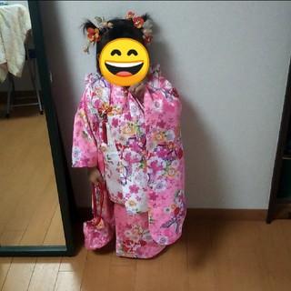 限定特価❗️七五三 3歳 着物・和服 女の子 被布 フルセット ピンク(和服/着物)