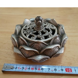 蓮の香炉 骨董 古玩 洋銀 仏具 アンティーク(彫刻/オブジェ)