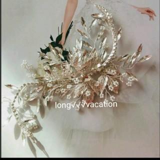 ☆煌めき☆クリスタルビーズ& ラインストーンリーフモチーフ  ヘッドドレス(ヘッドドレス/ドレス)