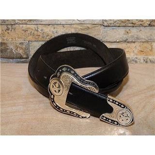 トニーラマ(Tony Lama)のUSA製 美品 トニーラマ レザーベルト 黒 36in 90cm~102cm(ベルト)