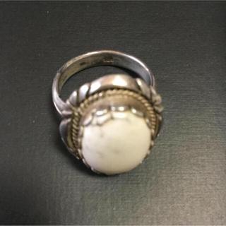 ホワイトターコイズリングsilver925製  サイズ16(リング(指輪))