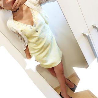 ジュエルズ(JEWELS)のビジュー♡黄色ドレス デイジーストア sugar jewels(ミニドレス)