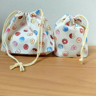 お弁当袋&コップ袋。(クリーム色)(ランチボックス巾着)