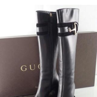 グッチ(Gucci)のGUCCI グッチ黒 ビット サイドジップロングブーツ(ブーツ)