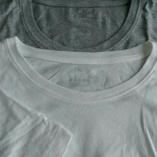 無印 MUJI Tシャツ 白 杢グレー XL