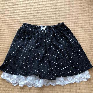エンジェルブルー(angelblue)のANGEL BLUE 160 ブラック 白ドット柄 スカート(スカート)