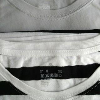 MUJI (無印良品) - 無印 MUJI Tシャツ 細白黒ボーダー 中細白黒ボーダー XL
