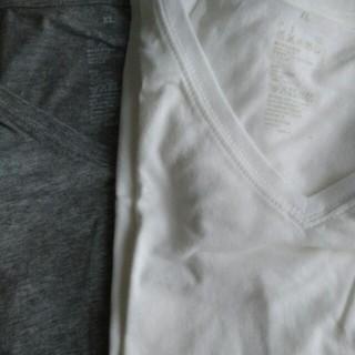 ムジルシリョウヒン(MUJI (無印良品))の無印 MUJI Tシャツ Vネック 白 杢グレー XL(Tシャツ(半袖/袖なし))