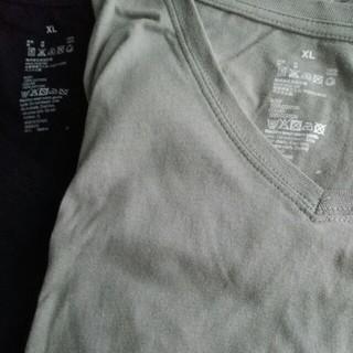 ムジルシリョウヒン(MUJI (無印良品))の無印 MUJI Tシャツ Vネック グレー 黒 XL(Tシャツ(半袖/袖なし))