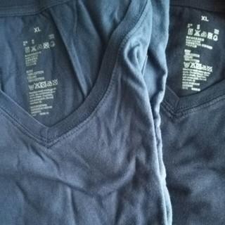 ムジルシリョウヒン(MUJI (無印良品))の無印 MUJI Tシャツ Vネック 紺 濃青 XL(Tシャツ(半袖/袖なし))