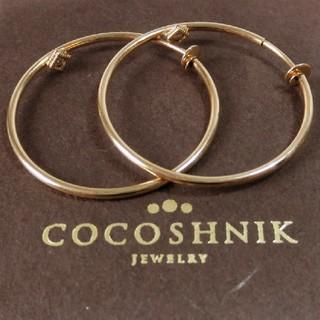 ココシュニック(COCOSHNIK)のココシュニック ダイヤモンド付K10フープイヤリング(イヤリング)