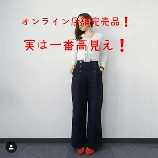 ジーユー(GU)の完売品❗gu マリンワイドパンツ ネイビーストライプ M(カジュアルパンツ)