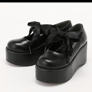 アンクルージュ(Ank Rouge)のAnk Rouge サテンリボン厚底シューズ(ローファー/革靴)