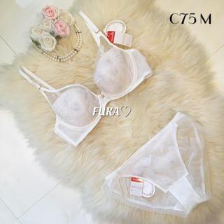 アモスタイル(AMO'S STYLE)のC75☆アモスタイルby トリンプ Dress ブラ&ショーツ ホワイト 白(ブラ&ショーツセット)