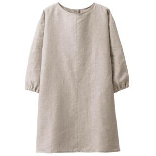 ムジルシリョウヒン(MUJI (無印良品))の新品   無印良品  麻平織 割烹着 生成 (収納/キッチン雑貨)