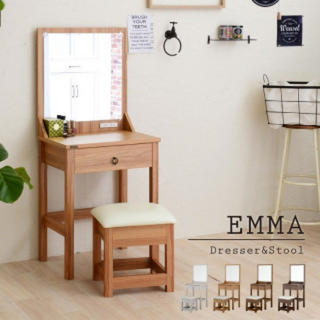 EMMA ドレッサー スツールセット エマ ドレッサー 鏡台 化粧台 メイク(ドレッサー/鏡台)