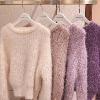 ナチュラルクチュール(natural couture)のラメニット*ホワイト(ニット/セーター)