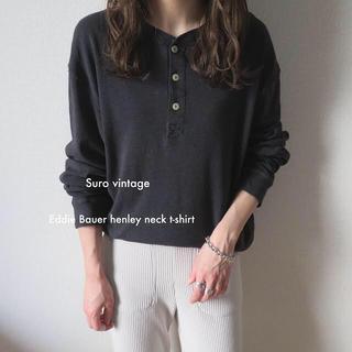 エディーバウアー(Eddie Bauer)のEddie Bauer ヘンリーネック tシャツ カットソー ロンT グレー (Tシャツ(長袖/七分))