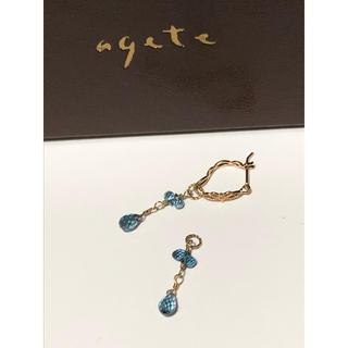 アガット(agete)の美品 agete アガット K10 ブルートパーズ ピアスチャーム 天然石 雫(ピアス)