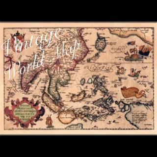 アンティーク ヴィンテージ 世界地図(地図/旅行ガイド)