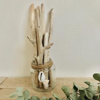 アートな流木˚✧₊⁎貝がらチャームつき 瓶ごと流木8本セット 西海岸インテリア(家具)