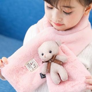 【新品】 マフラー 可愛い ピンク グレー クマ ふわふわ ファー 子供 キッズ(マフラー/ストール)