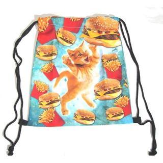 トラネコ ハンバーガー 巾着 袋 リュック デイパック かわいい 着替え お稽古(リュックサック)