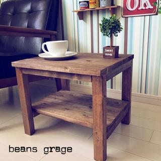 ローテーブル お部屋をカフェ風に!棚つき サイドテーブル コーヒーテーブル(コーヒーテーブル/サイドテーブル)