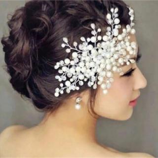 ヘッドドレス パール 髪飾り ウェディング(ヘッドドレス/ドレス)