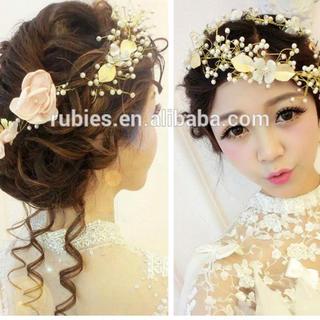 ゴールド パール  ヘッドドレス 髪飾り ウェディング リーフ (ヘッドドレス/ドレス)
