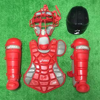 アシックス(asics)の少年軟式用 キャッチャー 防具 プロテクター セット JSBB ヘルメットつき(防具)