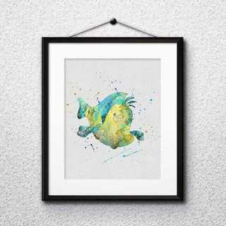 ディズニー(Disney)のフランダー(リトルマーメイド)アートポスター【額縁つき・送料無料!】(ポスター)