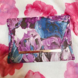 紫 花柄 クラッチバッグ(クラッチバッグ)