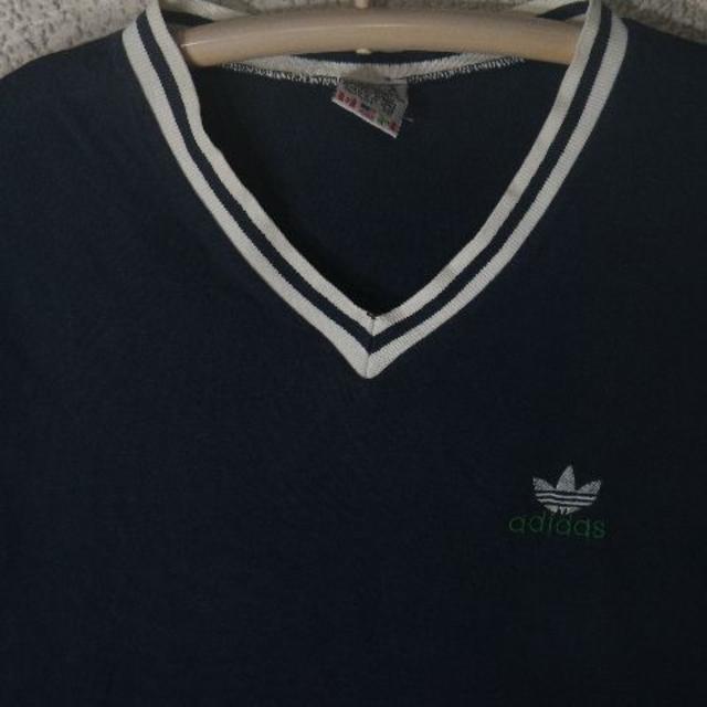 adidas(アディダス)の3391 アディダス アメリカ製 80s 90s 国旗タグ Vネック ロンt メンズのトップス(Tシャツ/カットソー(七分/長袖))の商品写真