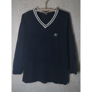 アディダス(adidas)の3391 アディダス アメリカ製 80s 90s 国旗タグ Vネック ロンt(Tシャツ/カットソー(七分/長袖))
