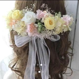 結婚式 ウェディング フラワーヘッドドレス&リストレットリストブーケ ヘアアクセ(ヘッドドレス/ドレス)