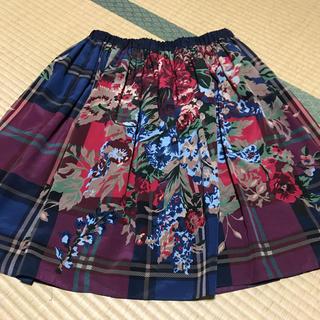 ロイスクレヨン(Lois CRAYON)のロイスクレヨン チェック×花柄 スカート(ひざ丈スカート)