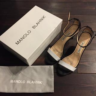 マノロブラニク(MANOLO BLAHNIK)のマノロブラニク☆ブラック×ホワイト サンダル サイズ40(サンダル)