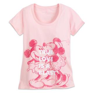 ディズニー(Disney)のUSディズニーミッキーミニー半袖Tシャツ レディースM(Tシャツ(半袖/袖なし))