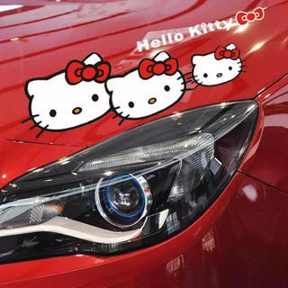 BIG★日本未発売★ハローキティ&ロゴステッカー1 黒レッド(車外アクセサリ)
